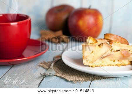 apple pie with a coffee cup
