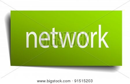 Network Square Paper Sign Isolated On White