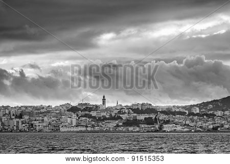 Stormy Cloudy Sky Over Tangier City, Morocco