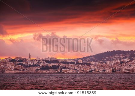 Bright Red Sunset Sky Over Tangier City, Morocco