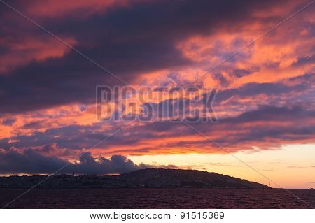 Bright Sunset Sky. Tangier, Morocco