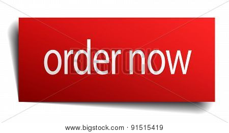Order Now Red Square Isolated Paper Sign On White