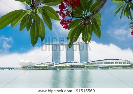 SINGAPORE-APRIL 302015 : Marina Bay Sands Resort Hotel on April 30 2015 in Singapore. It is an integrated resort and the worlds most expensive standalone casino property at S$8 billion.?