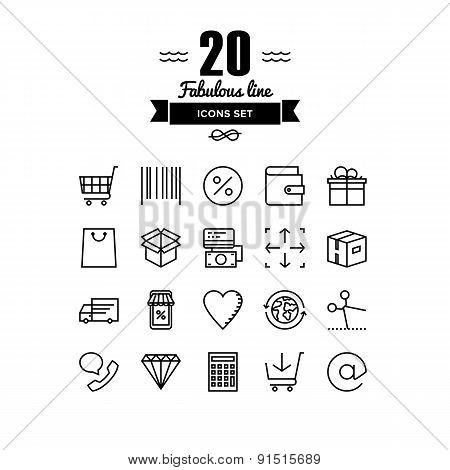 Retail Store Elements Line Icons Set