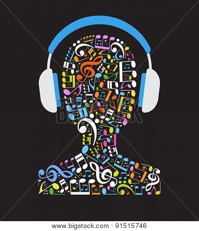 Concept music. Music note in the shape of a human head with headphones