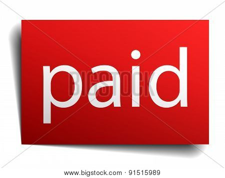 Paid Red Square Isolated Paper Sign On White