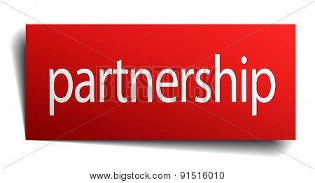 Partnership Red Square Isolated Paper Sign On White