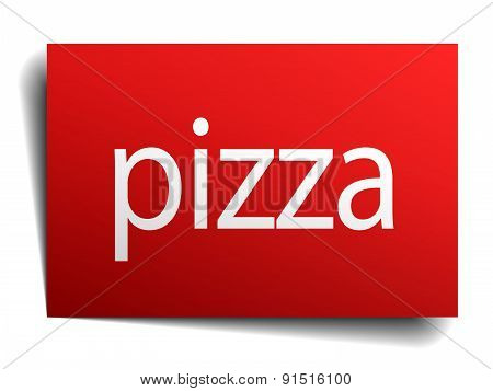 Pizza Red Square Isolated Paper Sign On White