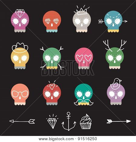 Cute Colorful Skull Set