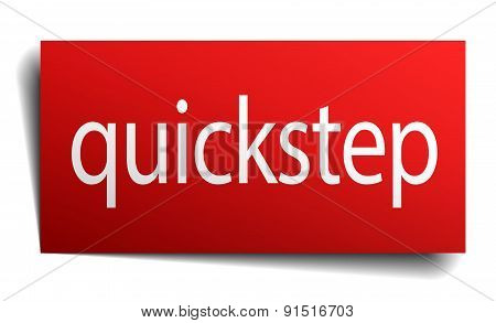 Quickstep Red Paper Sign On White Background