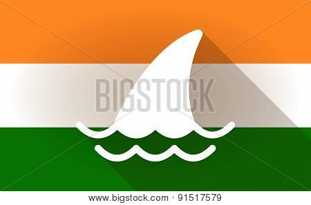India Flag Icon With A Shark Fin