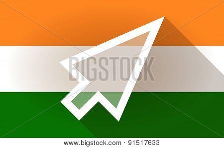 India Flag Icon With A Cursor