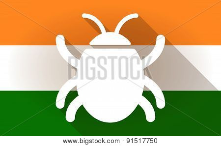 India Flag Icon With A Bug