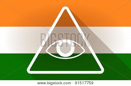 India Flag Icon With An All Seeing Eye