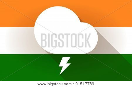 India Flag Icon With A Stormy Cloud