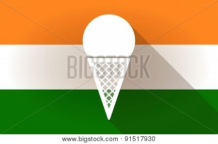 India Flag Icon With An Ice Cream