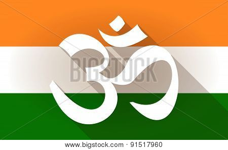 India Flag Icon With An Om Sign