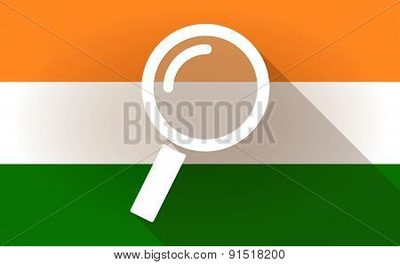 India Flag Icon With A Magnifier