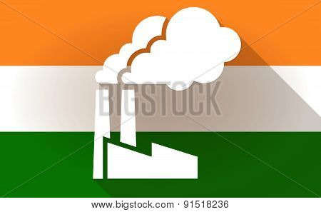 India Flag Icon With A Factory