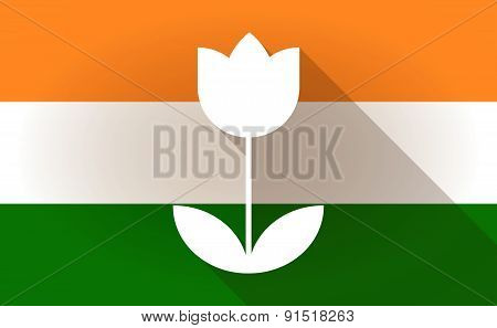 India Flag Icon With A Tulip