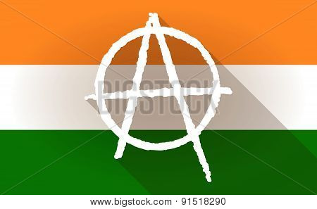 India Flag Icon With An Anarchy Sign