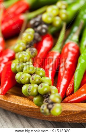 Red chilli peppers and other pepper