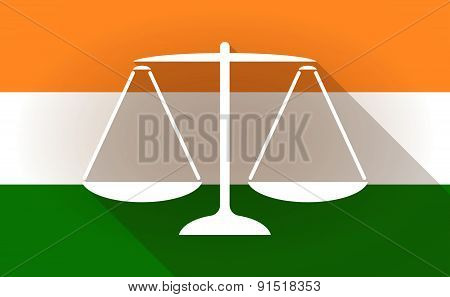 India Flag Icon With A Weight Scale