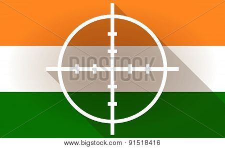 India Flag Icon With A Crosshair
