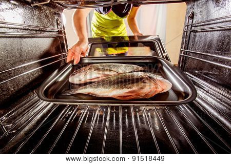 Housewife prepares dorado fish in the oven, view from the inside of the oven. Cooking in the oven.