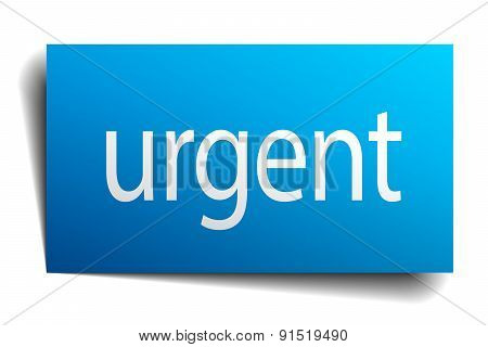 Urgent Blue Paper Sign Isolated On White
