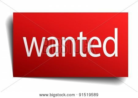 Wanted Red Paper Sign On White Background