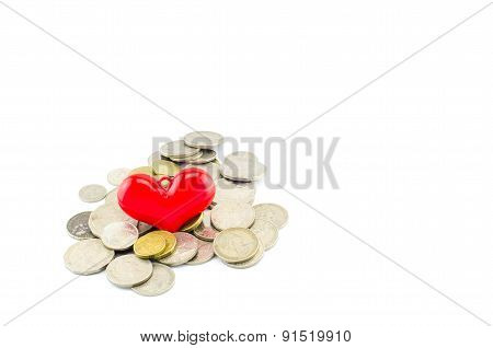 Red Heart On Money