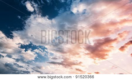 Sky, Bright Blue And White Colors. Instant Photo, Toned Image