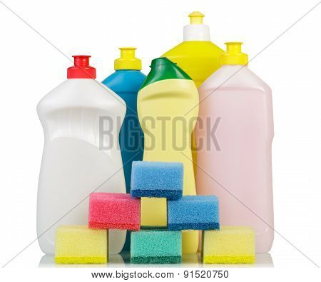 Cleaning products on white