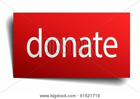 Donate Red Square Isolated Paper Sign On White