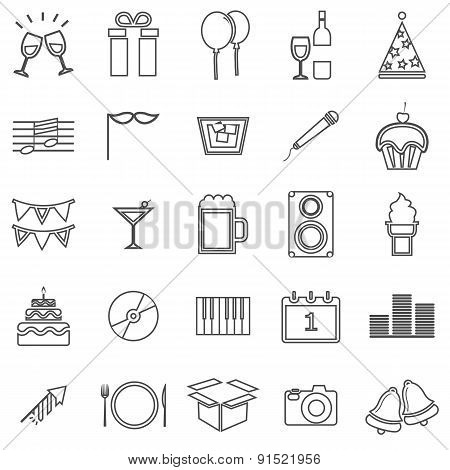 New Year Line Icons On White Background