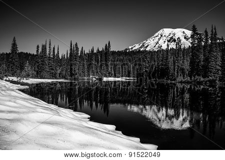 Mt Rainier Winter Reflection