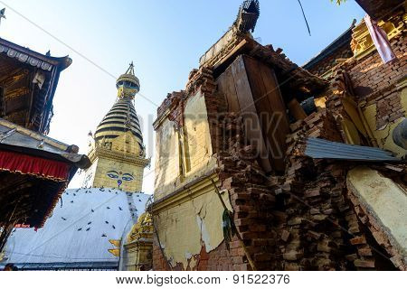 KATHMANDU, NEPAL - MAY 22, 2015: Swayambhunath, a UNESCO World Heritage Site, was severely damaged after two major earthquakes hit Nepal on April 25 and May 12, 2015.