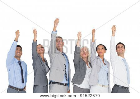 Business people raising their arms on white background