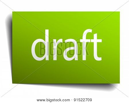 Draft Green Paper Sign Isolated On White