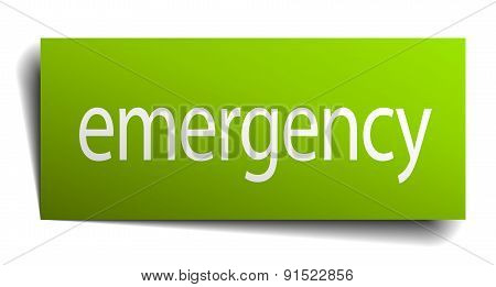 Emergency Green Paper Sign Isolated On White