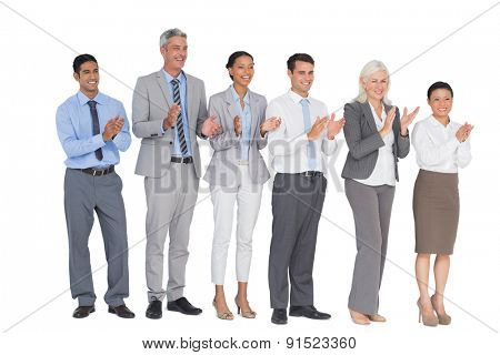 Business people holding cup and cheering on white background