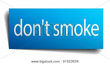 Don't Smoke Blue Paper Sign Isolated On White
