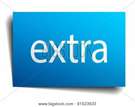 Extra Blue Paper Sign On White Background