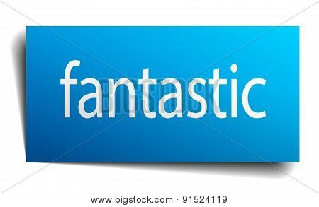 Fantastic Blue Paper Sign On White Background