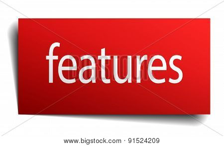Features Red Square Isolated Paper Sign On White