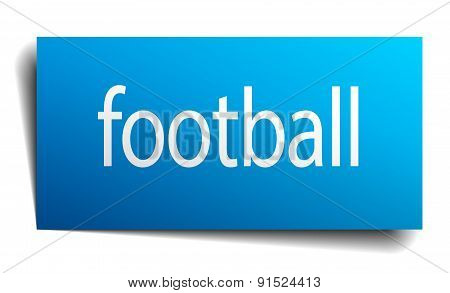 Football Blue Paper Sign On White Background
