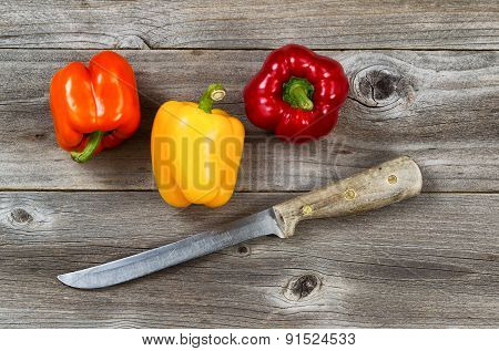 Fresh Bell Peppers Ready To Clean