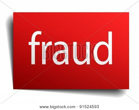 Fraud Red Paper Sign On White Background
