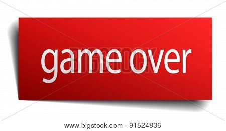 Game Over Red Paper Sign On White Background